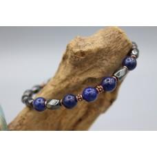 Hematite bracelet with Lapislazuli