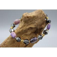 Hematite bracelet with Charoit