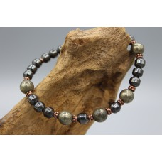 Hematite bracelet with Pyrite