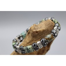 Hematite bracelet with African Turquoise