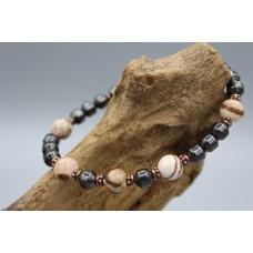 Hematite bracelet with Cappuccino Jasper