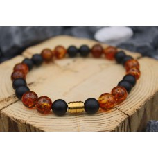 Bracelet with baltic Amber and Onyx
