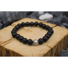 Bracelet with Onyx and sterling bead