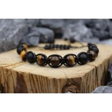 Armband mit Onyx und Tiger Auge