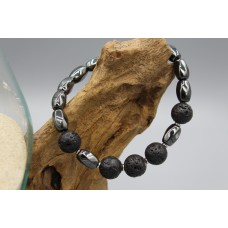 Hematite bracelet with lava stone